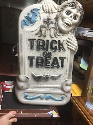 "Vtg Tombstone Blow Mold 28"" Lighted Halloween Gravestone Zombie Graveyard No"