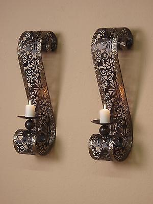 wand kerzenhalter 2er set metall schwarz teelicht wandkerzenhalter wandleuchter. Black Bedroom Furniture Sets. Home Design Ideas