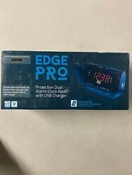 Edge Pro Alarm Clock Radio w Time Projection USB Dual Alarm For Heavy Sleepers