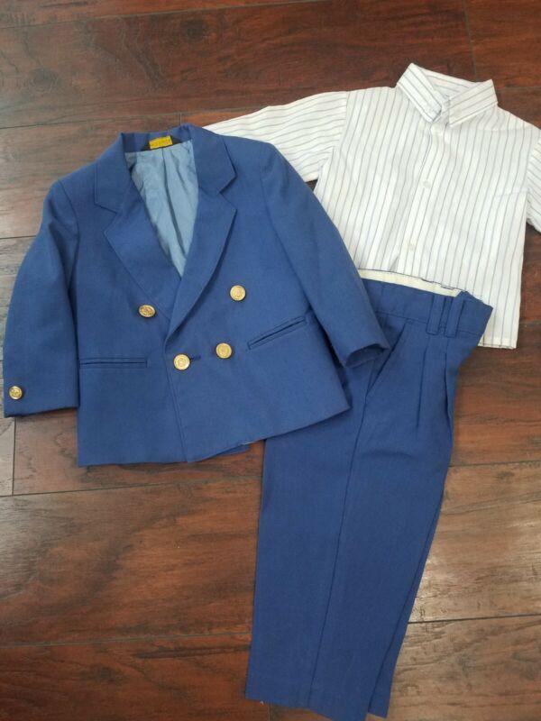 Vintage TFW Kidz 3 Piece Suit Blazer Jacket Boys Size 2t Blue