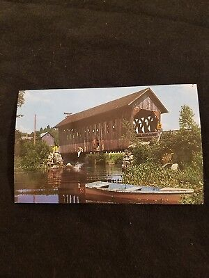 The Old Swimming Hole Bridge Crosses Black Water River Andover NH Postcard 45136
