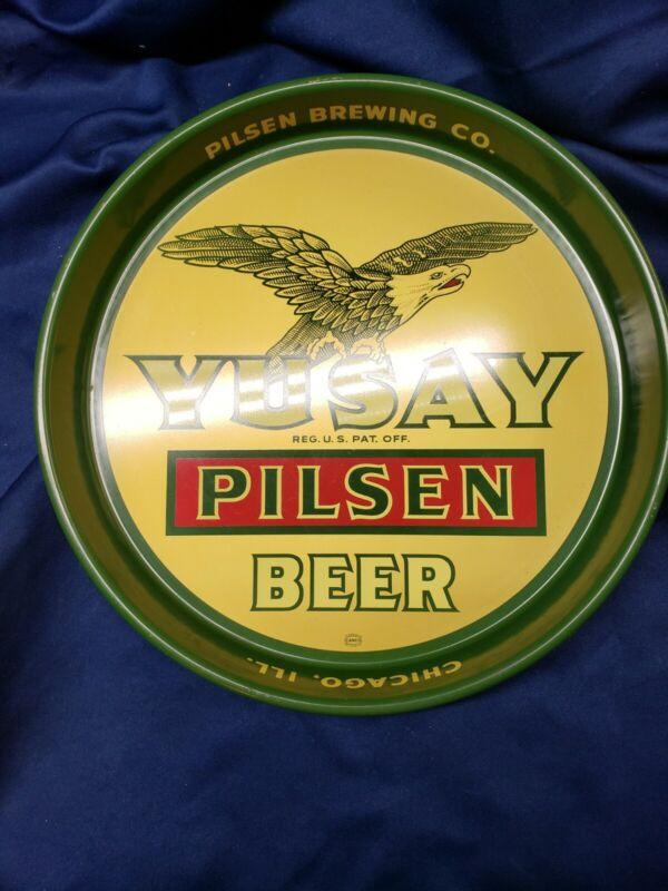 VINTAGE Yusay Pilsner Beer Tin Serving Tray *RARE*