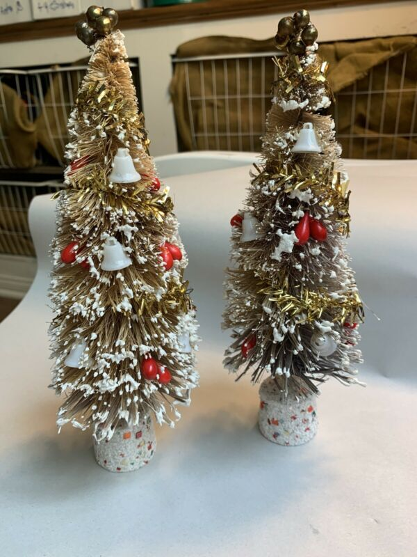 "2 Vintage Christmas Bottlebrush Tree Mercury Glass Ball & Decorations 9.5""  #PTL"