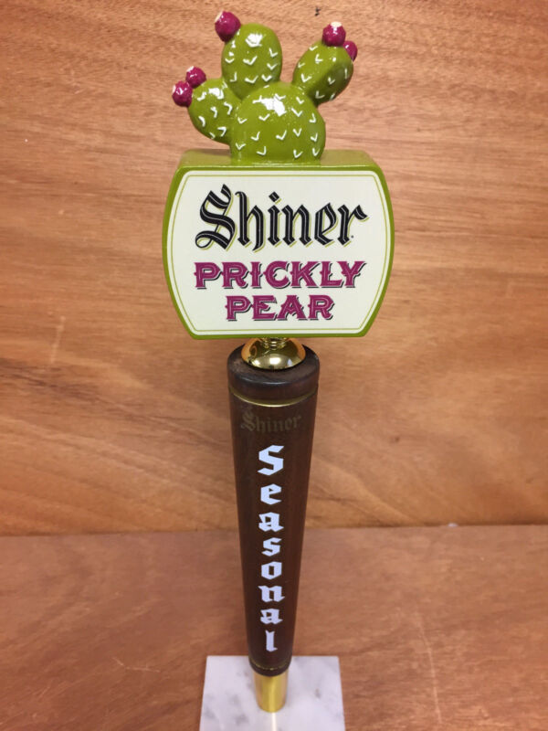 Shiner Beer Seasonal Wood Tap Handle with Prickly Pear Topper ~ NEW in BOX 12.5""