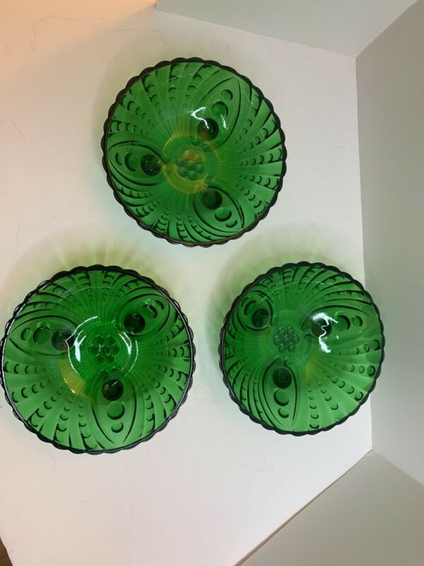 VTG Forest Green Glass 3 Footed Bowl Lot Of 3