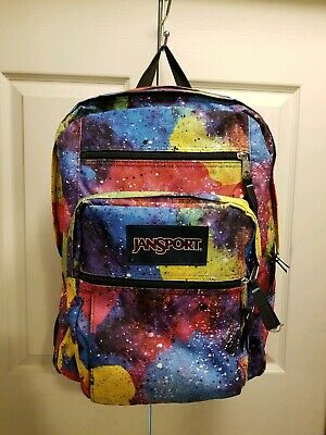 RARE Jansport Big Student Multi Neon Galaxy Backpack Bookbag Tie Dye TDN7 USED