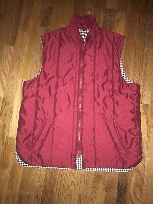 Barbour Quilted Waistcoat Vest Jacket Mens Size XL Full Zip Red Plaid Lining