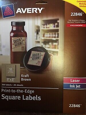 Avery 22846 Print To Edge Square 300 Labels Laser Ink Jet Labels Kraft Brown