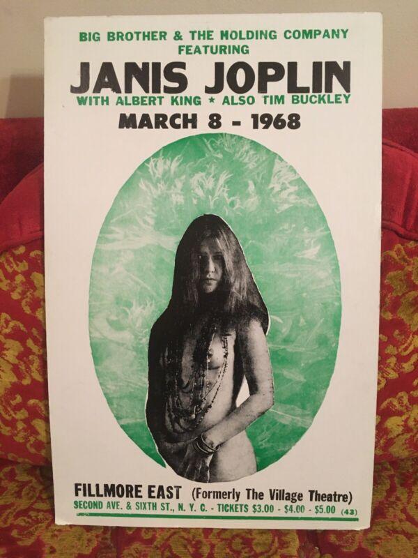 VTG 1968 60s Janis Joplin Big Brother & Holding Co Fillmore Concert Poster Print