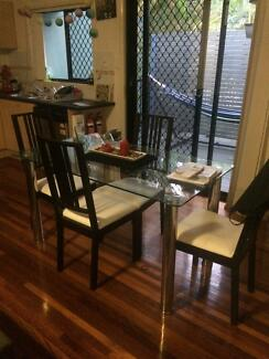Glass top dining table and 4 x chairs Alderley Brisbane North West Preview