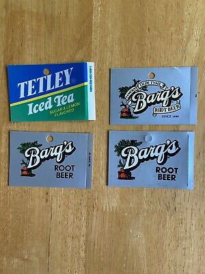 3 Vintage Rare Barqs Root Beer Vending Soda Machine Can Vending Labels 1 Tea