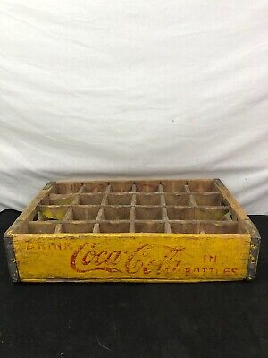 Vintage 1948 Yellow Coca-Cola Coke Wooden Soda Crate 24 Bottles Chattanooga Tenn