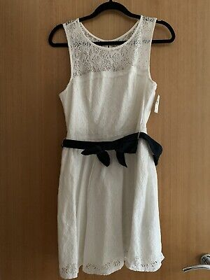 BNWT Abercrombie & Fitch White & Navy Lace Cotton Bow Summer Dress...
