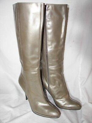 Gently Used Bandolino Metallic Patent Leather Zip Platform Boots 10B Pointed Toe