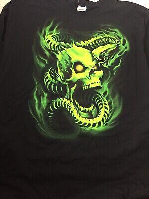 Skull Cobra Skeleton Fire Flame Green Skull Head Evil Snake T Shirt Size L ()