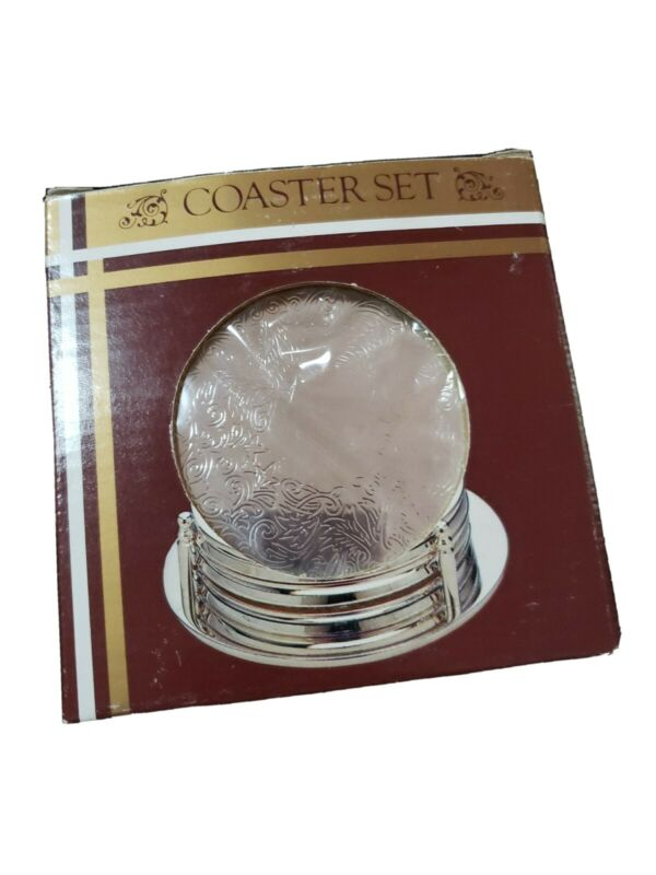 NEW IN ORIGINAL PKG.SET OF 4 SILVER-PLATED COASTERS & HOLDER SET - RUBBER BACKED