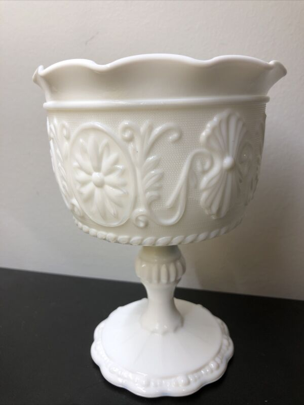 Vintage Milk Glass Pedestal Compote Candy Dish Daisy Cameo Shell Scalloped Rim