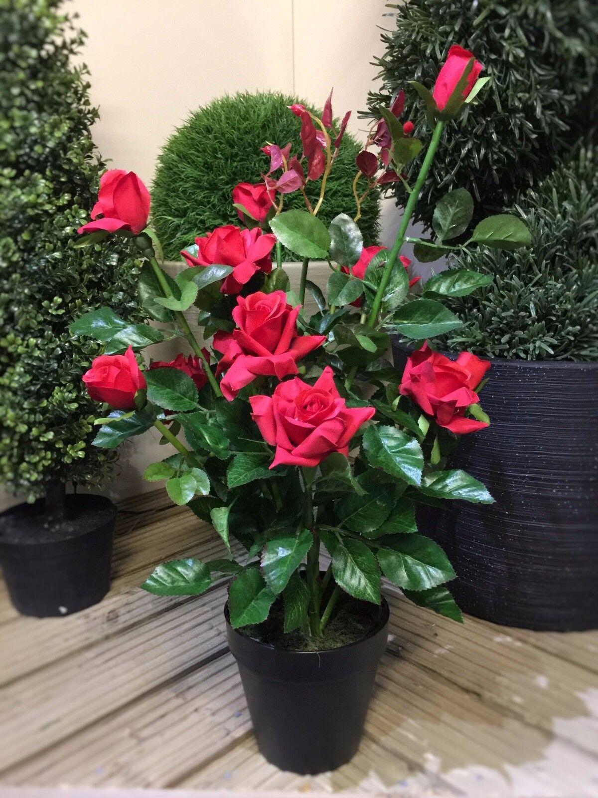 Best Artificial 2ft 65cm Rose Plant Garden Office ...