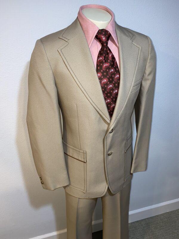 Vtg 60s 70s JOHNNY CARSON Polyester LEISURE SUIT Mens 40 Jacket 37 33 Pants Mod