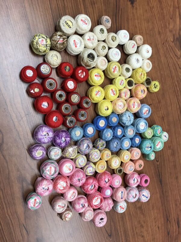 Huge Lot Of Vintage Tatting Thread! 111 Spools-COTON A BRODER, STAR, C&C