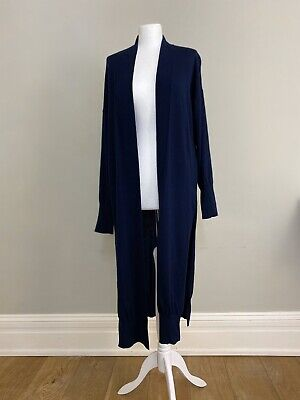 Iris & Ink Outnet Navy Blue Long Line Pure Wool Cardigan Coatigan NEW L/UK 14