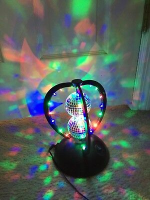 2 ROTATING double DISCO BALL PARTY LIGHT ON A STAND 6