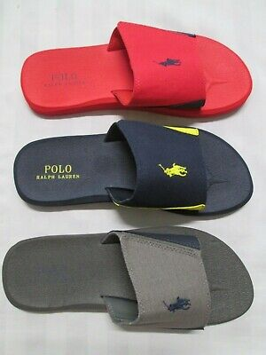 POLO RALPH LAUREN Mens Classic Beach/Pool Slide Sandals With Velcro Fastening ()