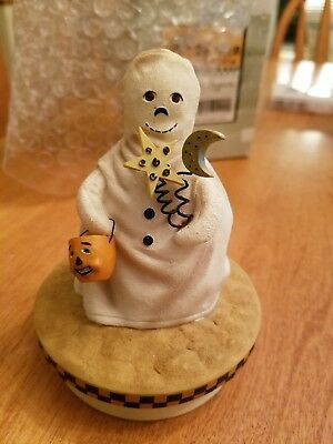 Ghost with Pumpkin Bag Our America Halloween Candle Topper By Yankee Candle NIB