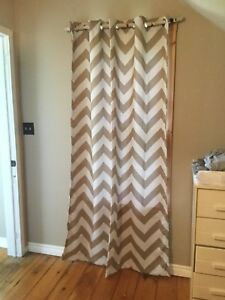 Brand new beige and white chevron blackout curtain