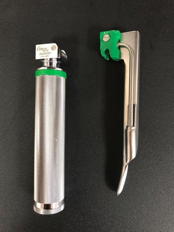 Rusch Welch Allen Green Spec Fiber Optic Laryngoscope Handle - Medium + Blade
