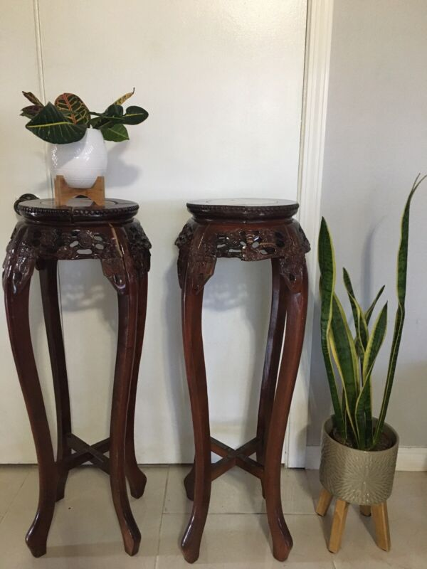 Oriental Plant Stands with marble top inserts, fair condition