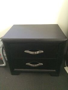 Dark brown solid wood bedside table Darling Point Eastern Suburbs Preview