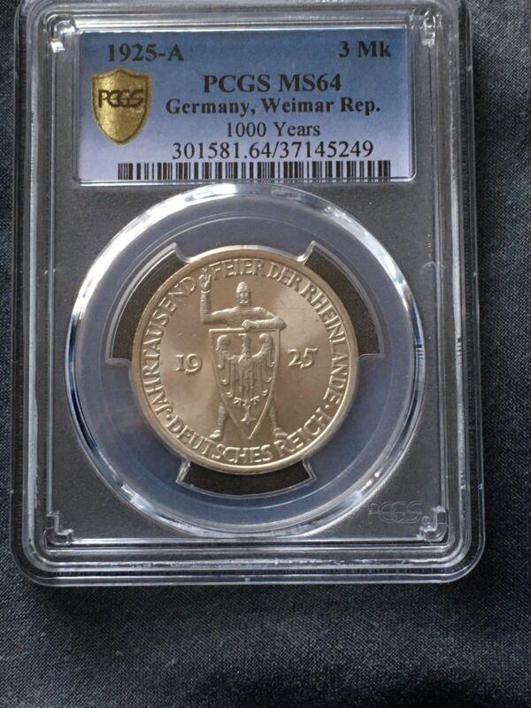 1925 A Germany Silver 3 Mark Rhineland PCGS MS64