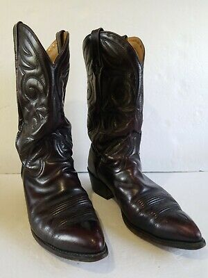 Vintage Circle A Acme Burgund Oax Leather Western Boots Mens Sz 11.5 D Nice!