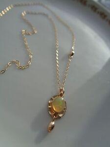 Gold Kette mit Opal-Anhänger,585 Gold Filled, zart und edel