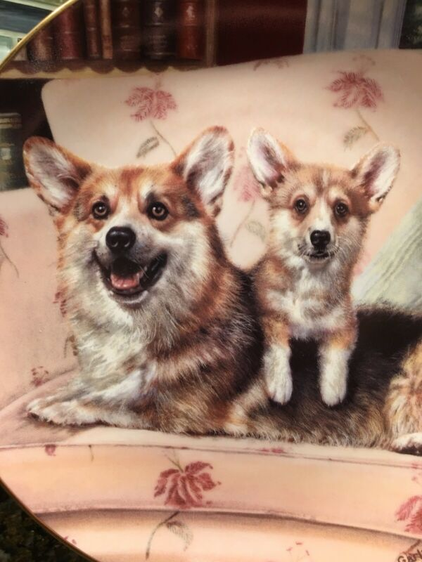 "MINT Danbury Limited Welsh Corgi Plate ""Couch Potatoes"" Numbered Collector Plate"
