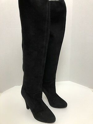 MICHAEL KORS COLLECTION Boots Womens 9.5 M Italy Black Over The Knee Suede Tall