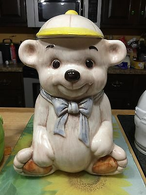 Vintage Treasure Craft Teddy Bear With A Baseball Cap Cookie Jar