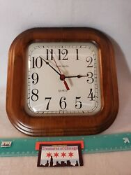 Vintage Verichron Quartz Squircle Square Rounded Wood Wall Clock 10.5x10.5 USA