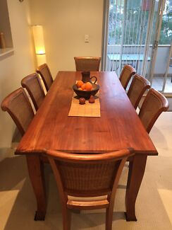 Solid Wood Dining Table and 8 Chairs Drummoyne Canada Bay Area Preview