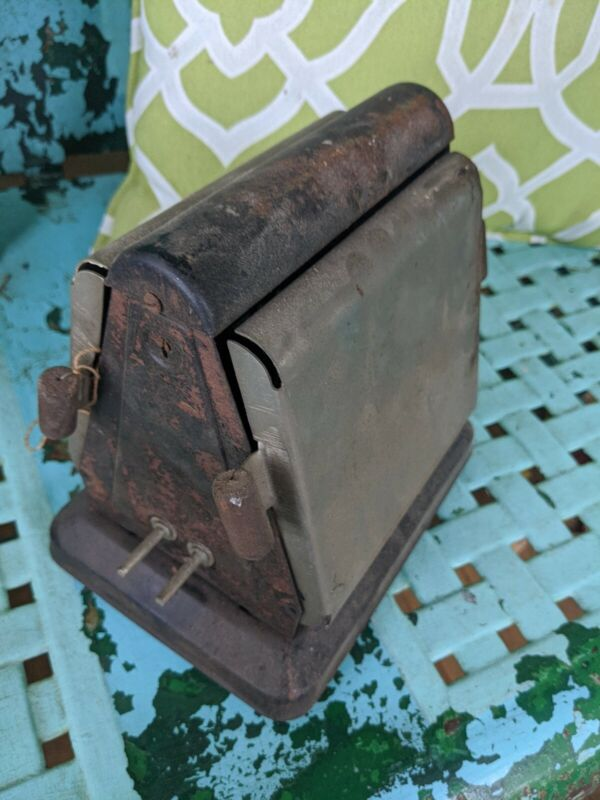 ANTIQUE RARE KELLOGG TOASTER EARLY ELECTRIC WOOD HANDLES TAG Koiled Kord parts