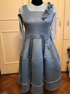 Mi Mi Sol Mimi Sol Blue Scuba Floral Fish Net Embelished Party Dress Size 14