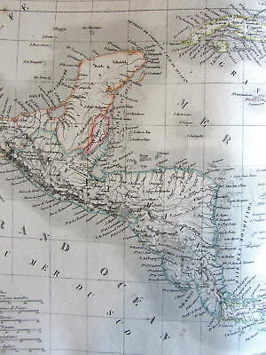 Caribbean Antilles Gulf of Mexico Florida scarce c.1830 Lapie large old map