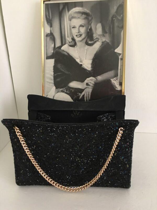 Vintage Black Sparkle Evening Bag Purse