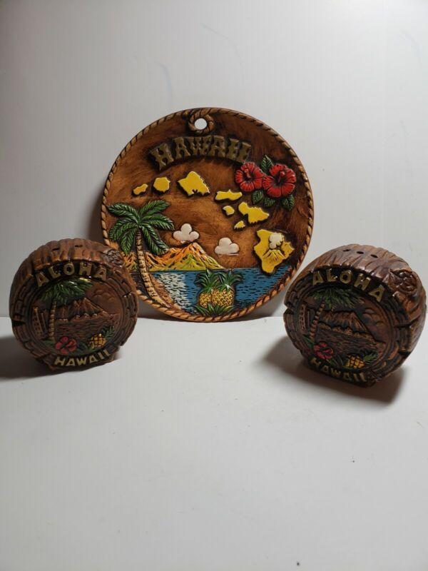 Vintage Hawaii Decorative Ceramic Hand Painted Raised Plate Souvenir with s&p