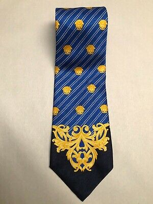 Giannni Versace 90s Vintage Silk Tie Blue Pinstripe Gold Medusa Print