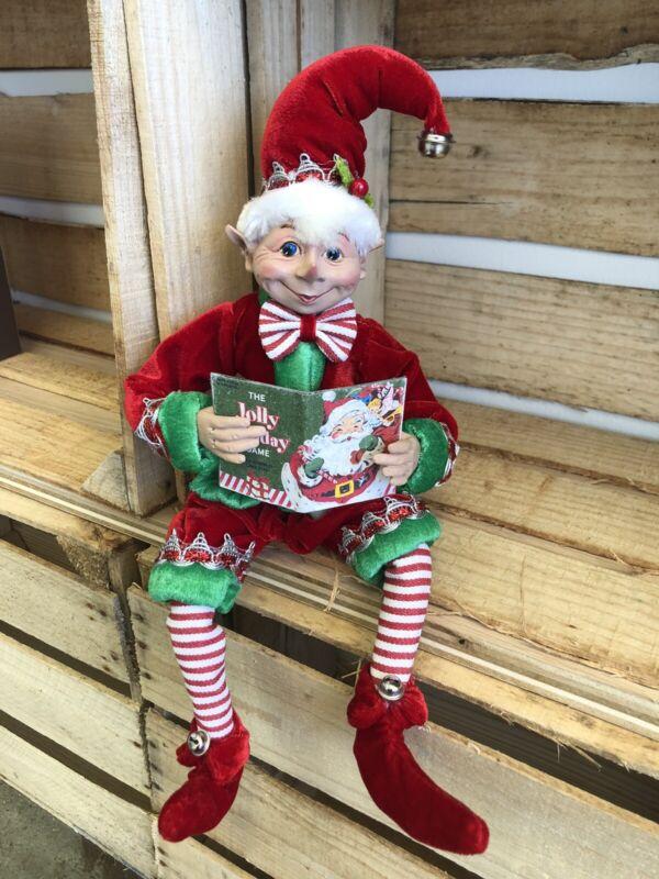 "Elf Raz Imports Elf Poseable Shelf Sitter Red Green Reading Book 16"" New"
