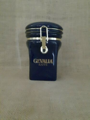 Gevalia Coffee Canister Cobalt Blue and Gold 8 Inch