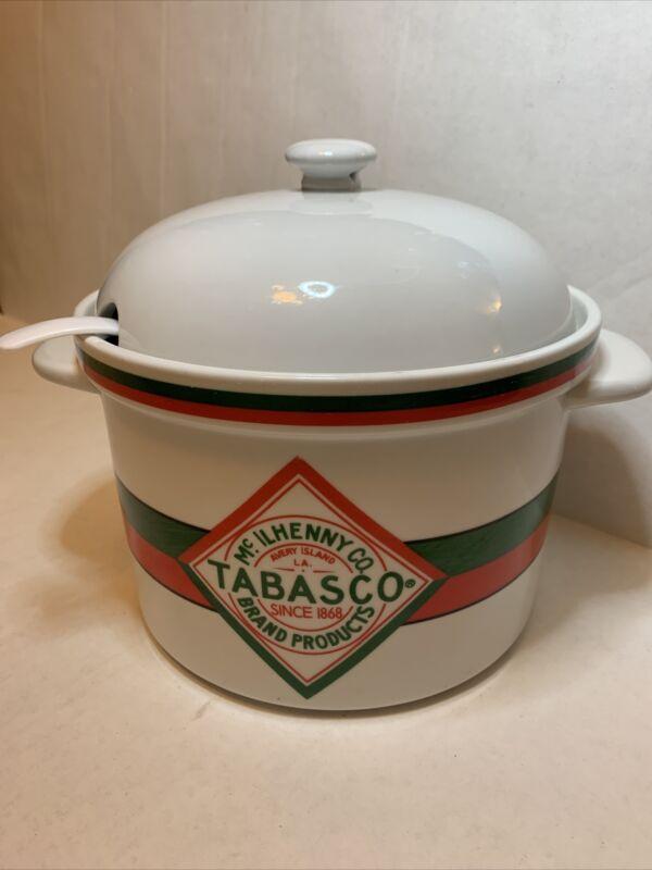 Vintage Tobasco Brand Ceramic Crock With Lid Oven safe