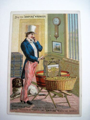 """Patriotic Victorian Trade Card for """"Empire Wringer"""" w/ Uncle Sam    *"""